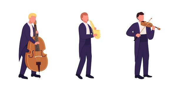 Musicisti dell'orchestra con set di caratteri senza volto di colore piatto di strumenti musicali. illustrazione del fumetto isolata performance di musica classica per il web design grafico e la raccolta di animazione Vettore Premium