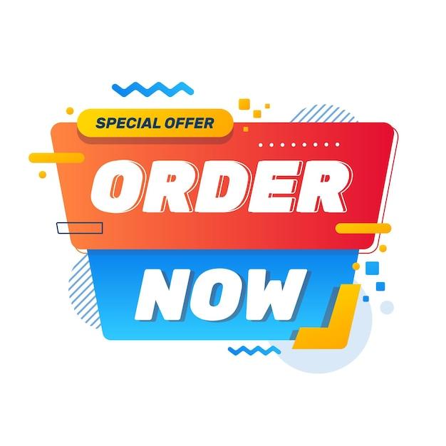 Ordina ora banner Vettore Premium
