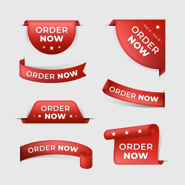 Ordina ora la raccolta di etichette promozionali Vettore Premium