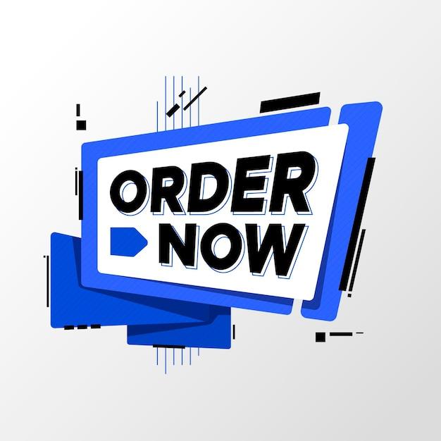 Ordina ora banner quadrato Vettore Premium