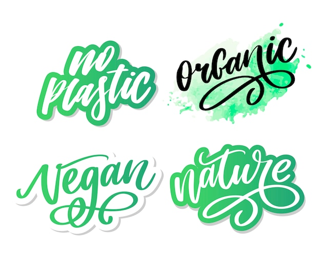 Pennello organico parola disegnata a mano organica con le foglie verdi. etichetta, modello logo per prodotti biologici, mercati alimentari sani. Vettore Premium