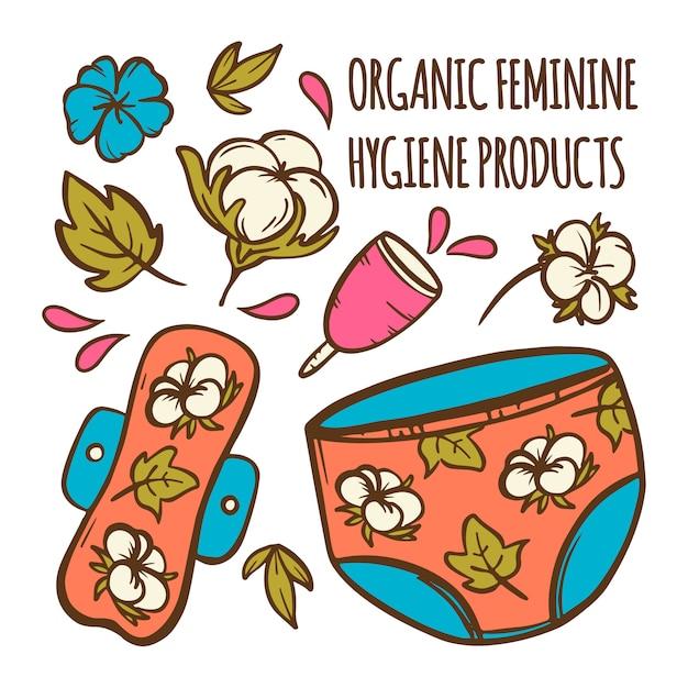 Insieme dell'illustrazione disegnata a mano di igiene delle donne dei rifiuti zero dell'assistenza sanitaria ginecologica femminile organica Vettore Premium