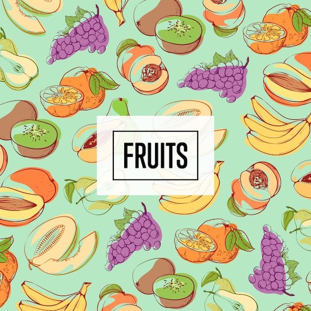 Modello senza cuciture organico frutta fresca e succosa Vettore Premium