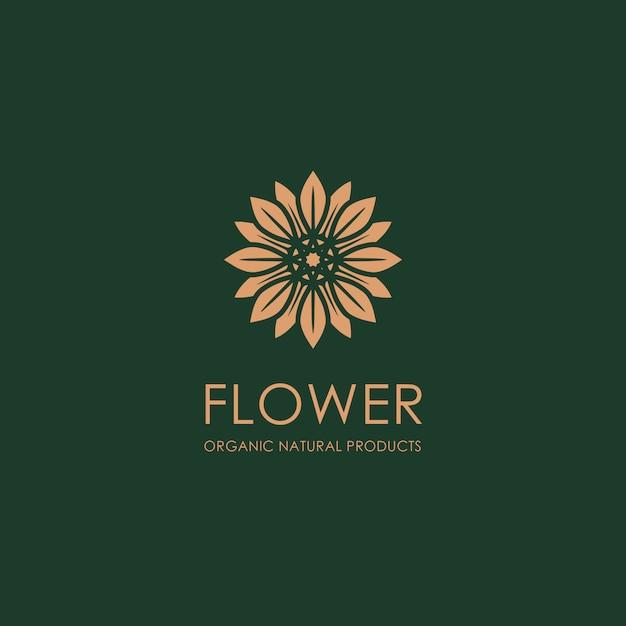 Modello di logo del fiore d'oro organico Vettore Premium