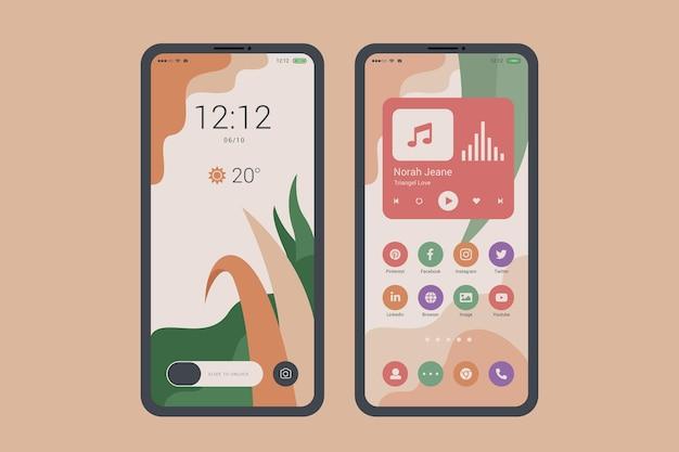 Tema organico della schermata iniziale per smartphone Vettore Premium