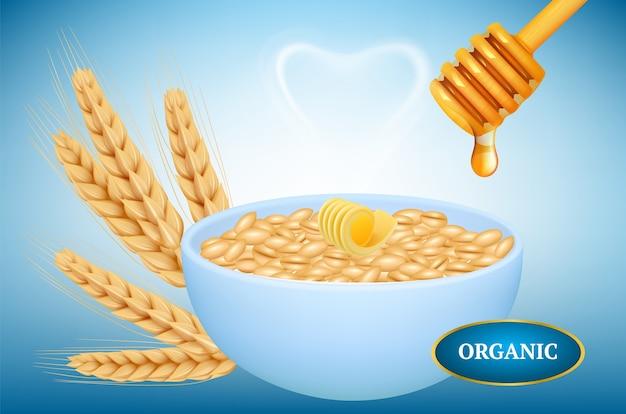 Farina d'avena biologica. ciotola realistica di porridge con miele. farina d'avena calda con burro miele spighe di grano. farina d'avena di illustrazione con burro e miele Vettore Premium