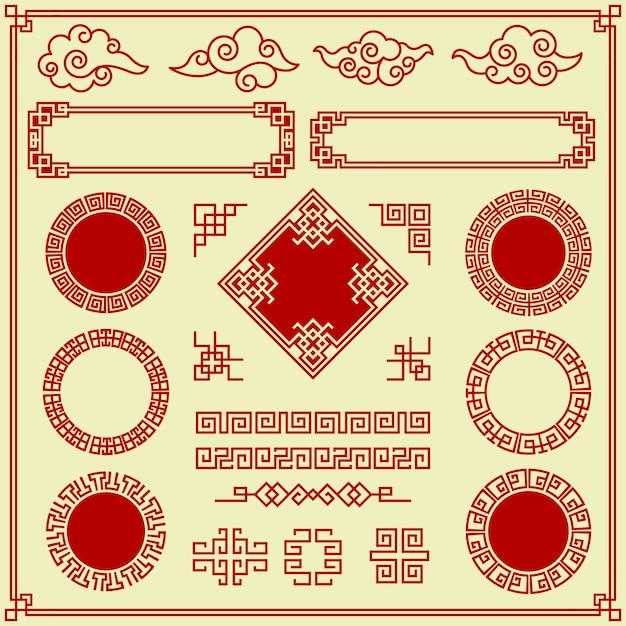 Elementi orientali. ornate nuvole cornici bordi divisori tradizionali asiatici oggetti di decorazione in stile vintage. decorazione cornice tradizionale orientale Vettore Premium