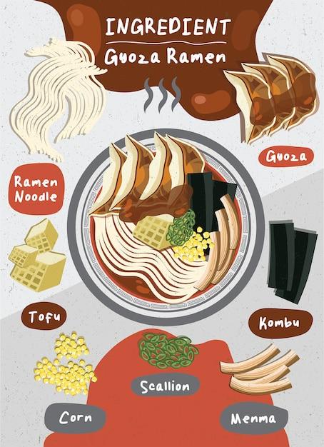 Cibo orientale del giappone vector lo scallion ramen il tofu fresco l'uovo di manzo tagliatelle bollite ingrediente piatto gyoza menma Vettore Premium