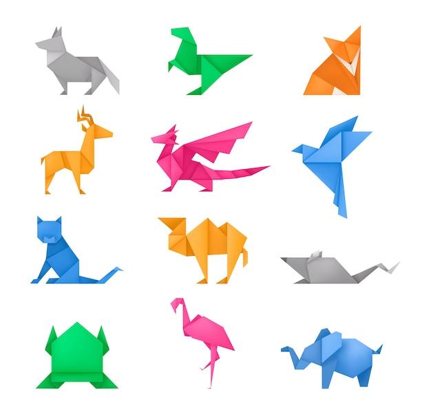 Set di giocattoli di carta diversi animali origami Vettore Premium