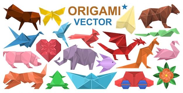 Icona stabilita del fumetto di origami. animale di carta dell'illustrazione su fondo bianco. origami stabiliti dell'icona del fumetto isolato. Vettore Premium