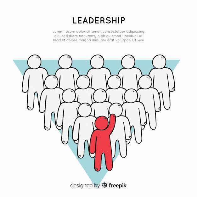 Composizione di leadership disegnata a mano originale Vettore Premium