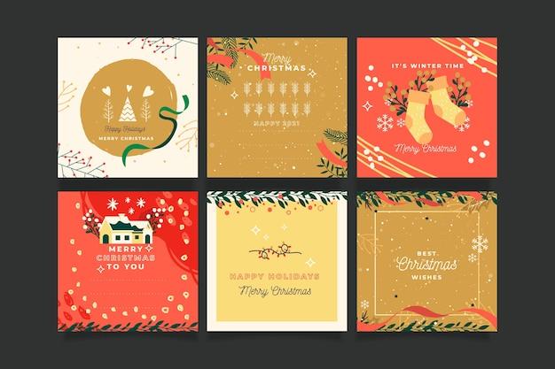 Collezione di cartoline di natale ornamentali Vettore Premium