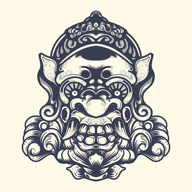 Diavolo ornamentale faccia inchiostrazione illustrazione grafica Vettore Premium
