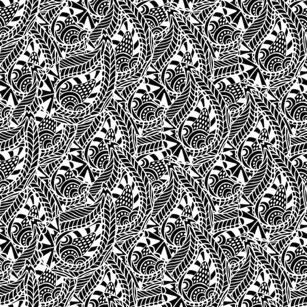Motivo ornamentale senza soluzione di continuità. struttura in bianco e nero di vettore. Vettore Premium