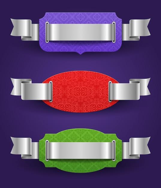 Cornici colorate con nastri argentati Vettore Premium