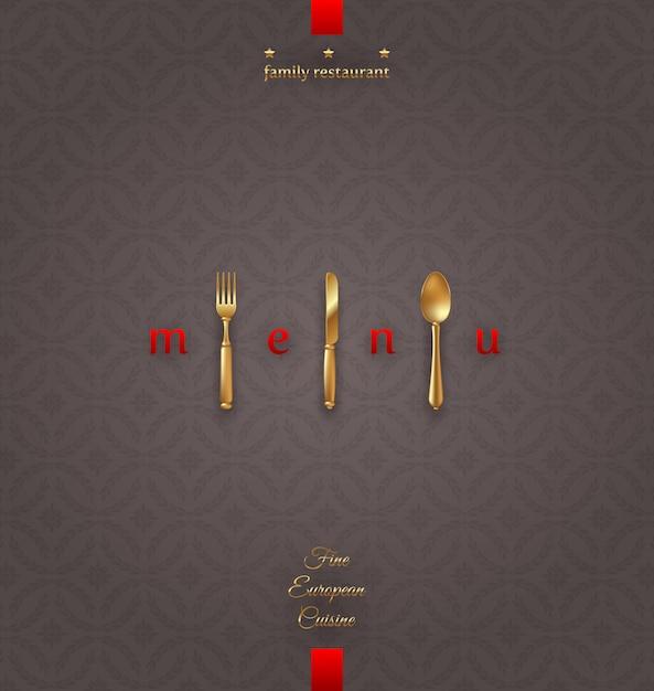 Menu di copertina ornato con posate d'oro - illustrazione Vettore Premium