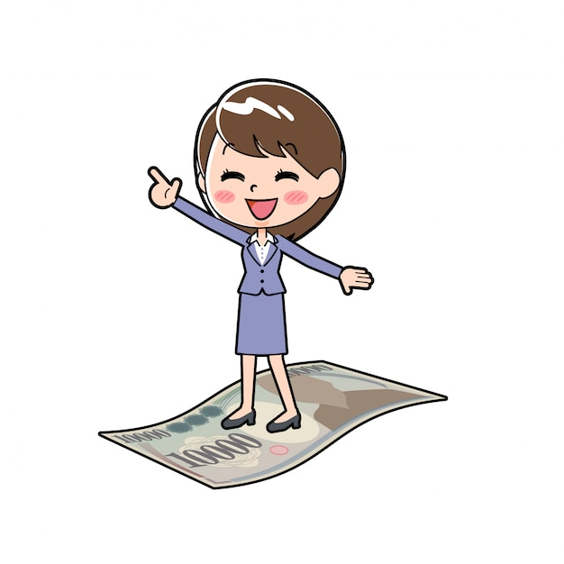 Outline donna d'affari soldi surfin Vettore Premium