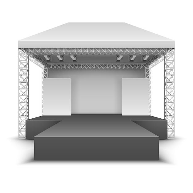 Stage all'aperto di festival musicali. la scena di concerto rock con i riflettori ha isolato l'illustrazione di vettore. festival all'aperto, concerto e spettacolo Vettore Premium
