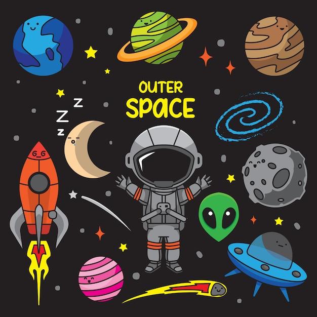 Illustrazione di scarabocchi dello spazio esterno Vettore Premium