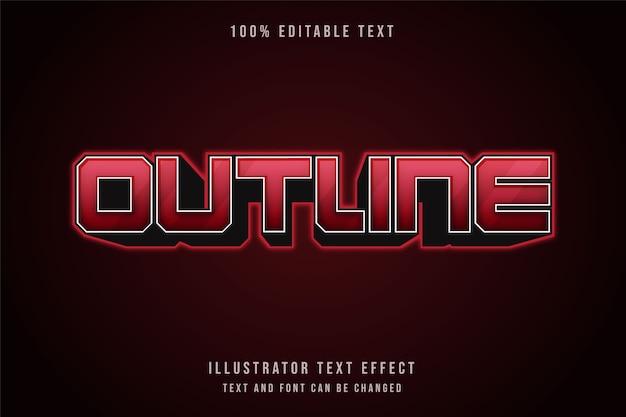 Contorno, effetto testo modificabile 3d effetto testo al neon con gradazione rossa Vettore Premium