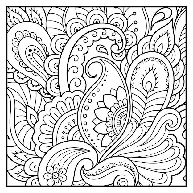 Delineare il motivo floreale quadrato in stile mehndi per la pagina del libro da colorare. Vettore Premium