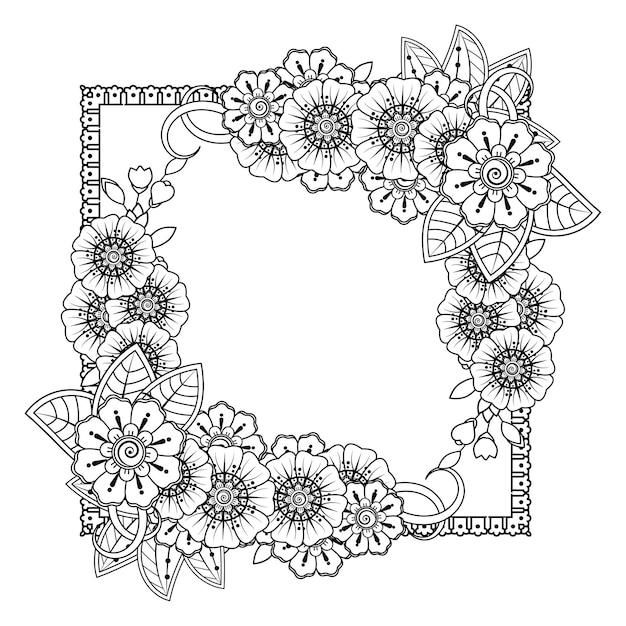 Delinea fiori quadrati in stile mehndi. pagina da colorare. Vettore Premium