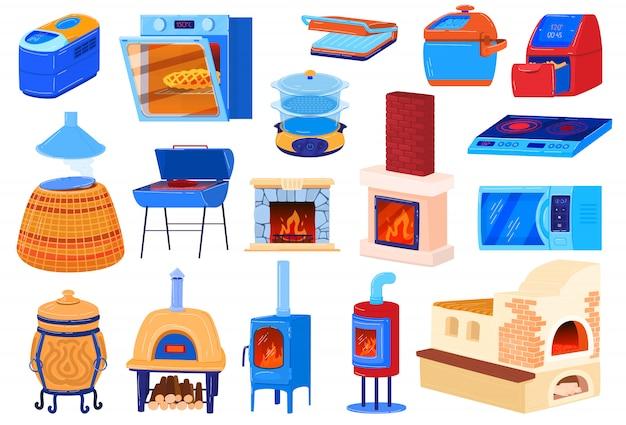Illustrazioni di fornelli da forno, set di cartoni animati per cuocere il cibo in cucina con piano cottura a gas o elettrico, vecchia stufa a legna in ferro Vettore Premium