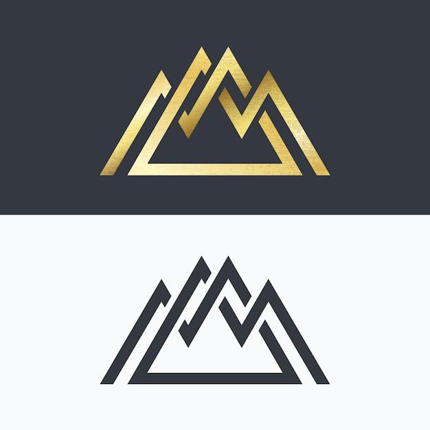 Simbolo delle montagne di linea sovrapposta. segni dorati e monocromatici, logotipi. Vettore Premium