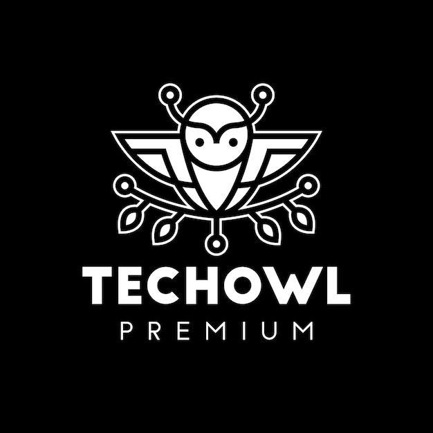 Owl tech line art logo bianco Vettore Premium