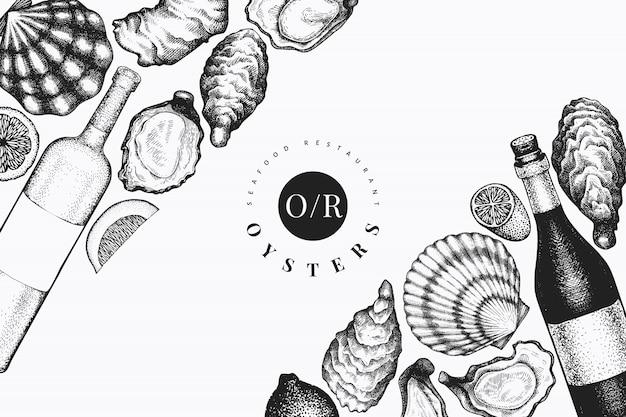 Ostriche e modello di disegno del vino. illustrazione vettoriale disegnato a mano. banner di frutti di mare. può essere utilizzato per menu di design, packaging, ricette, etichette, mercato del pesce, prodotti ittici. Vettore Premium