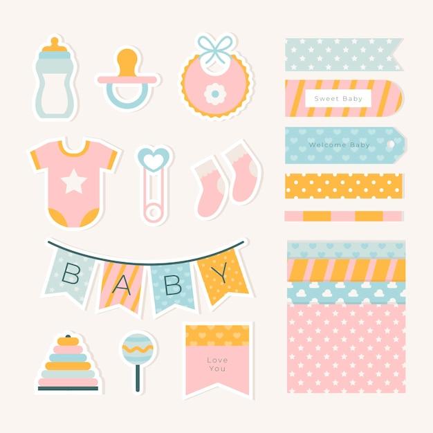 Confezione di elementi scrapbook baby shower Vettore Premium