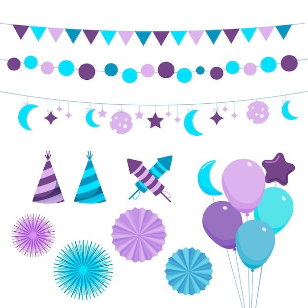 Confezione di elementi decorativi per il compleanno Vettore Premium