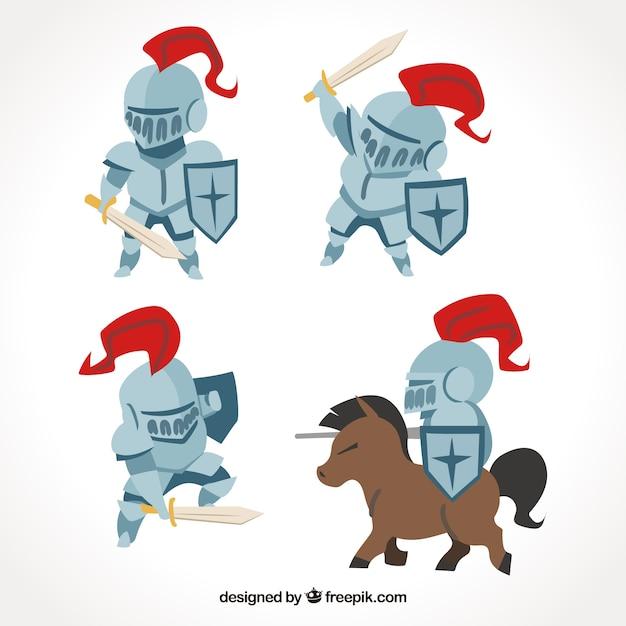 Confezione di quattro cavalieri con armatura Vettore Premium