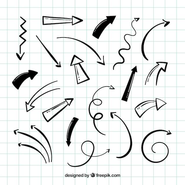 Confezione di frecce disegnate a mano Vettore Premium