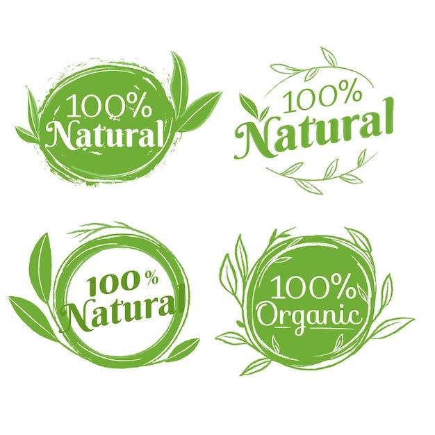 Confezione da distintivi naturali al cento per cento Vettore Premium
