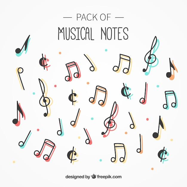 Confezione di note musicali con colore Vettore Premium