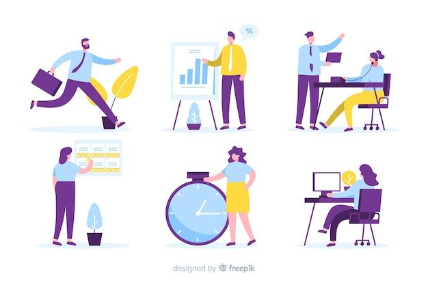 Confezione di persone che lavorano in ufficio Vettore Premium
