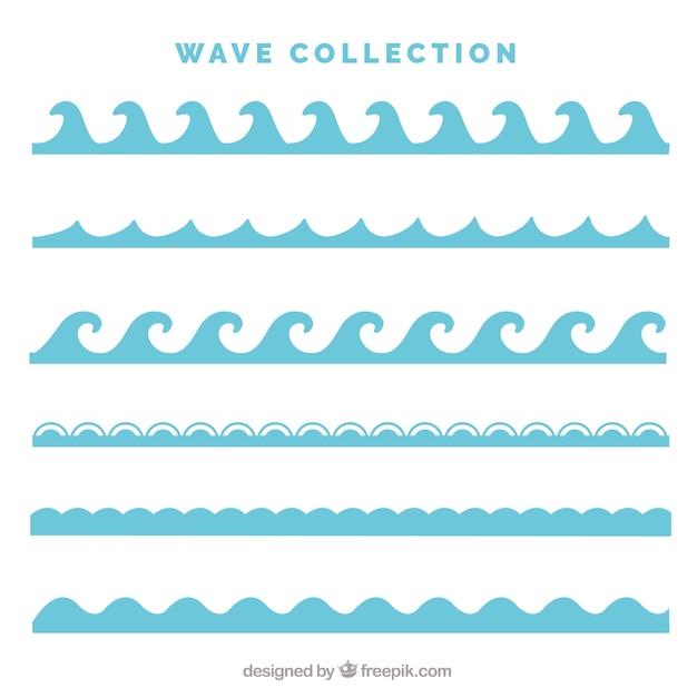 Confezione da sei tipi di onde in stile piatta Vettore Premium