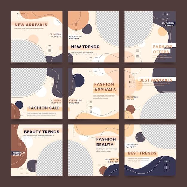 Pacchetto di feed di puzzle dei social media Vettore Premium