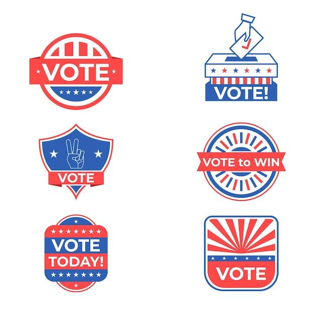 Confezione di badge e adesivi di voto Vettore Premium