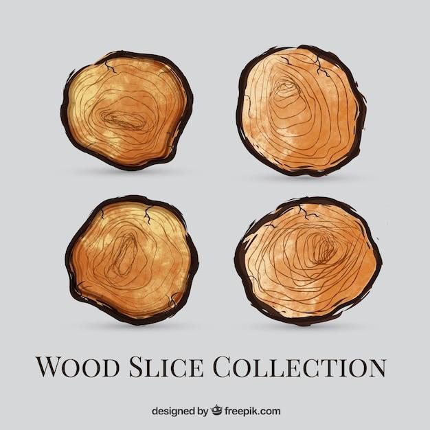Confezione da acquerello tronchi di legno Vettore Premium