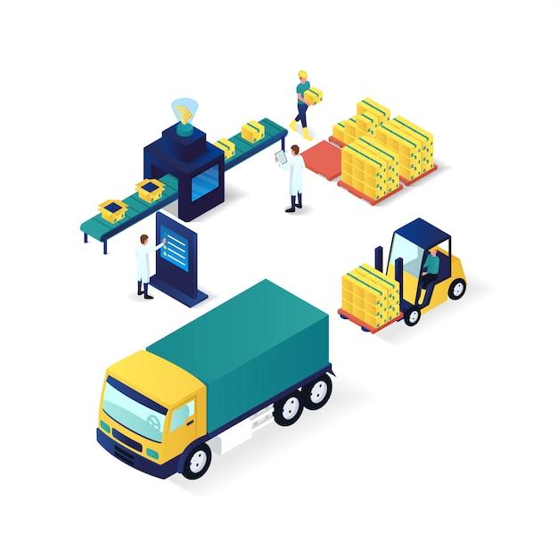 Illustrazione isometrica di industria e tecnologia di processo di imballaggio Vettore Premium