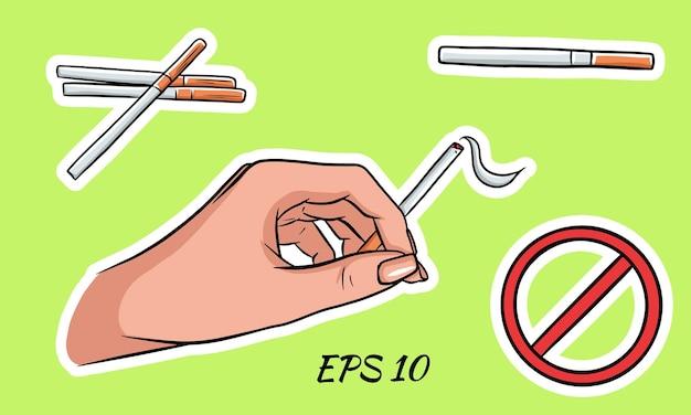 Pacchetti di sigarette in stile cartone animato. su uno sfondo isolato. vettore Vettore Premium