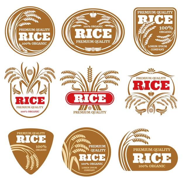 Etichette di riso biologico con risone. loghi di cibo sano isolato Vettore Premium