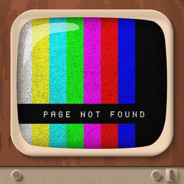 Pagina non trovata con linee rette colorate sullo schermo del televisore retrò Vettore Premium
