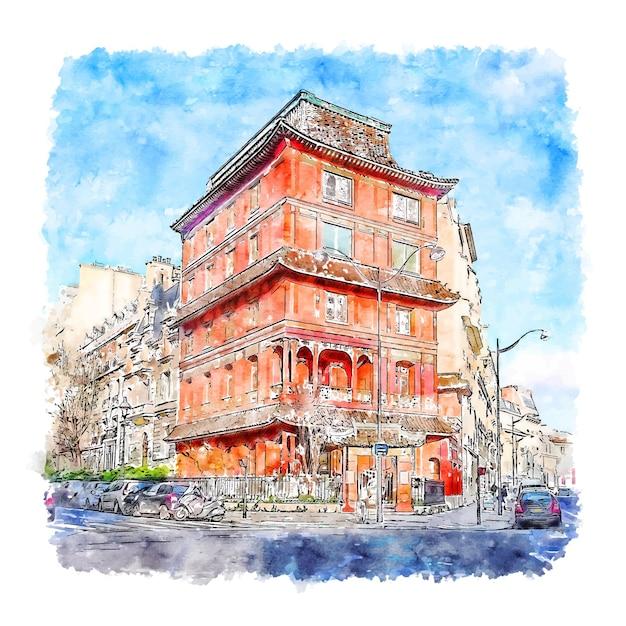 Illustrazione disegnata a mano di schizzo dell'acquerello di pagoda parigi francia Vettore Premium