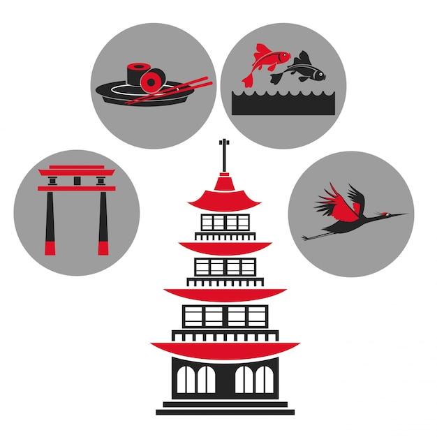 Icone tradizionali dell'emblema di architettura giapponese della costruzione della pagoda Vettore Premium