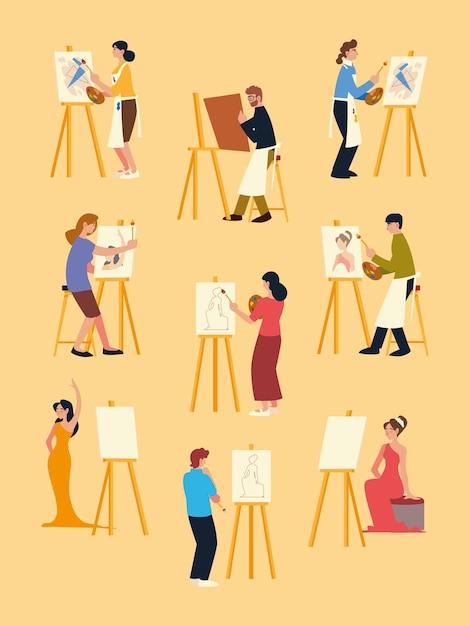 Lezione di pittura, uomini e donne che dipingono su tela al set da cavalletto Vettore Premium