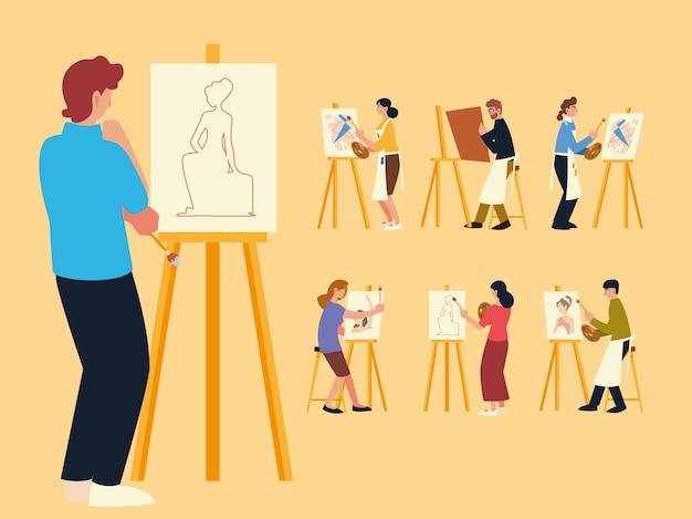 Corso di pittura, gruppo di persone che dipingono, disegnano e realizzano opere d'arte Vettore Premium