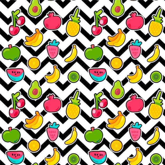 Frutti di bosco dipinti estate mescolano senza cuciture Vettore Premium